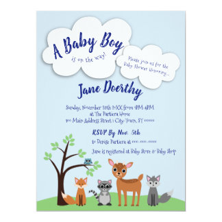 Woodland Baby Shower Invitation - Forest Animals