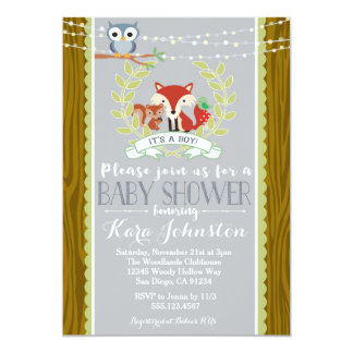 Woodland Baby Shower invitation Fox Owl Invite