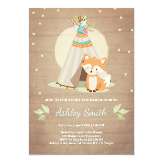 Woodland baby shower invitation Fox Teepee pow wow