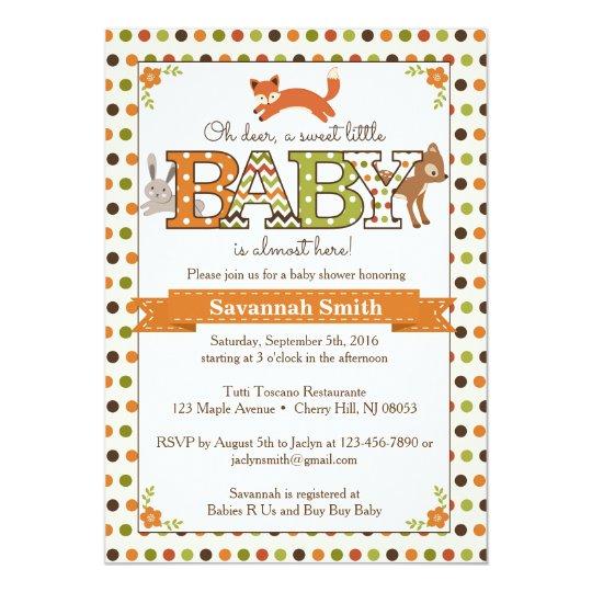 Woodland Baby Shower Invitations - Woodland Animal