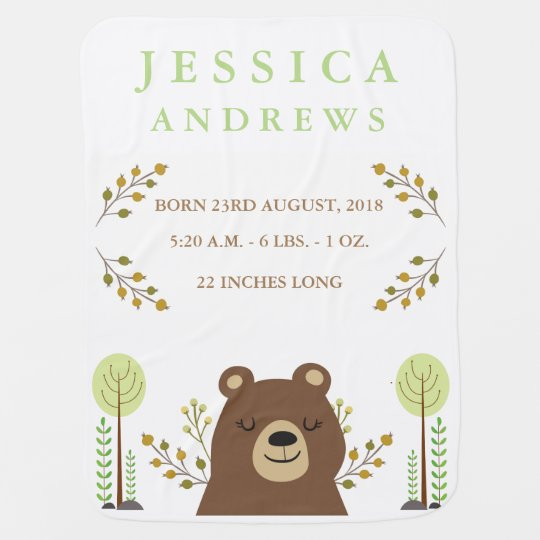 Woodland Bear Birth Announcement Baby Blanket