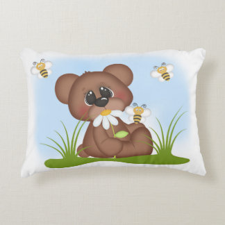 Woodland Bear Bumble Bee Baby Girl Birth Stats Accent Pillow