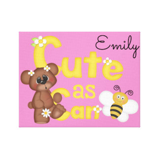 Woodland Bear Cute as Can Bee Baby Girl Wall Art