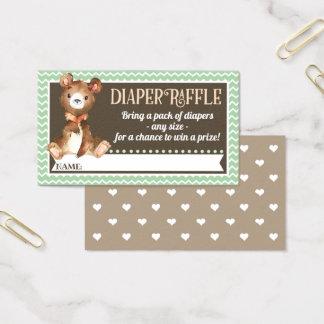 Woodland Bear Diaper Raffle Tickets