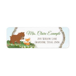Woodland Bear Fox Baby Shower Return Address Label