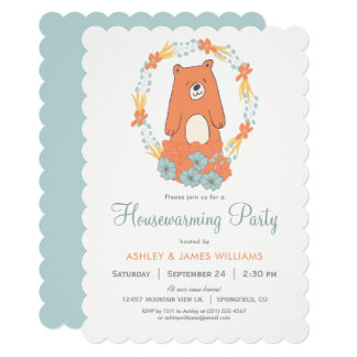 Woodland Bear Housewarming Party Invitation