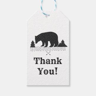 woodland bear thank you gift tag