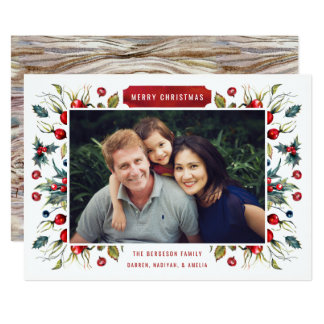 Woodland Berries Photo Christmas Card