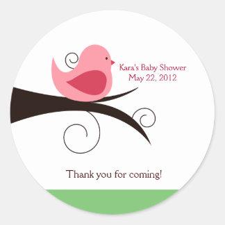 Woodland Birdie (Pink) Baby Shower Favor Sticker