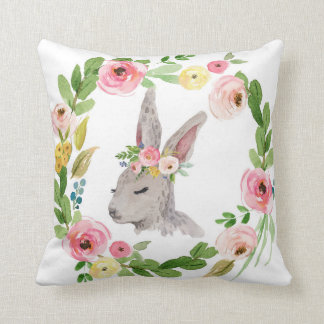 Woodland Boho Bunny Rabbit Baby Nursery Pillow