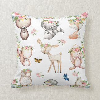 Woodland Boho Fox Deer Bunny Nursery Pillow