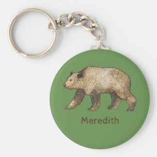Woodland Brown Bear Personalized Keychain