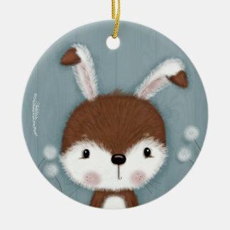 Woodland Bunny Portrait Ceramic Ornament