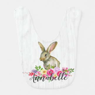 Woodland Bunny Rabbit Watercolor Floral Baby Monog Bib