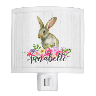 Woodland Bunny Rabbit Watercolor Floral Baby Monog Nite Lite