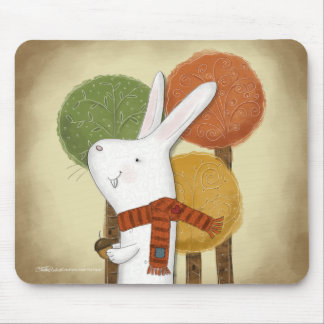 Woodland Bunny with Acorn Mouse Pad