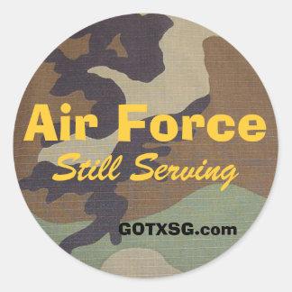 woodland camo, Air Force, Still Serving, GOTXSG... Round Sticker