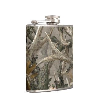Woodland camo deer antler hip flask