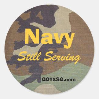 woodland camo, Navy, Still Serving, GOTXSG.com Round Sticker