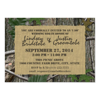Woodland Camouflage and Burlap I Do Barbecue Card