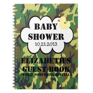 Woodland Camouflage Baby Shower Guestbook Spiral Note Book