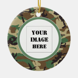Woodland Camouflage Custom Photo Ornament