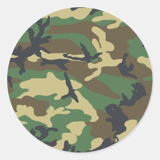 Woodland Camouflage Design Round Stickers