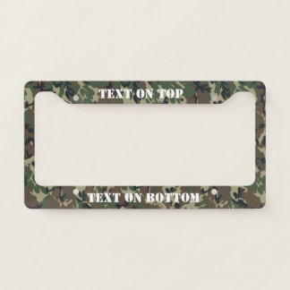 Woodland Camouflage Military Background License Plate Frame