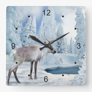Woodland Caribou and Wolf Faux Painting Children's Square Wall Clock
