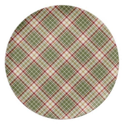 Woodland Christmas Plaid Melamine Plate