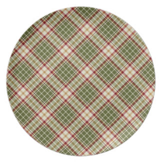 Woodland Christmas Plaid Red and Moss Green Plates