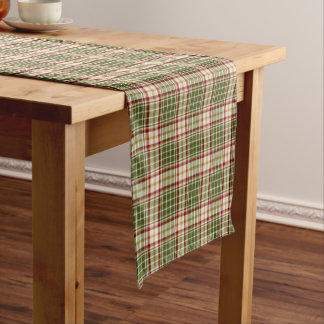 Woodland Christmas Plaid Short Table Runner