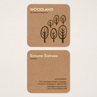 Woodland - Cream + Dark Brown on Cardboard Box Tex Square Business Card