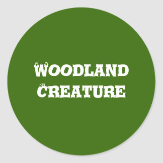 Woodland Creature. Green. Classic Round Sticker