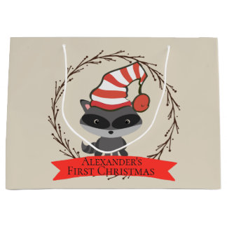 Woodland Creature Raccoon Baby's First Christmas Large Gift Bag