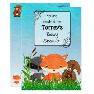 Woodland Creatures Baby Shower Invitation