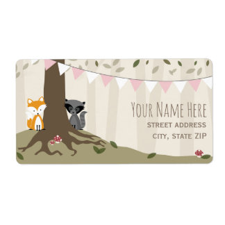 Woodland Creatures Girl Baby Shower Label Shipping Label
