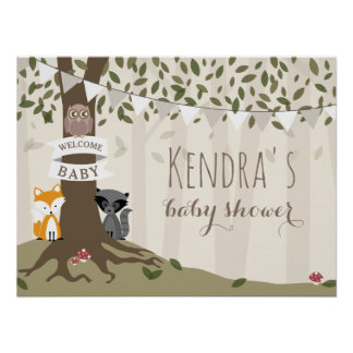 Woodland Creatures Neutral Baby Shower Poster