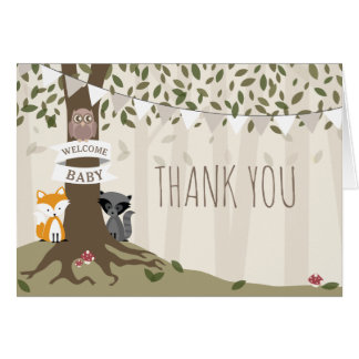 Woodland Creatures Neutral Baby Shower Thank You Card