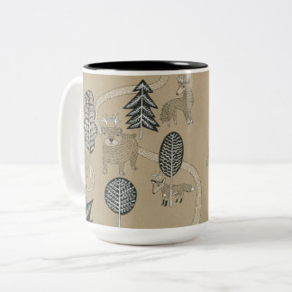Woodland Creatures Two-Tone Coffee Mug