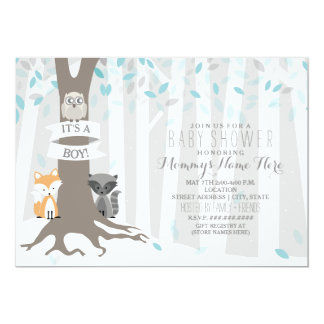 Woodland Creatures Winter Baby Shower - Boy Card