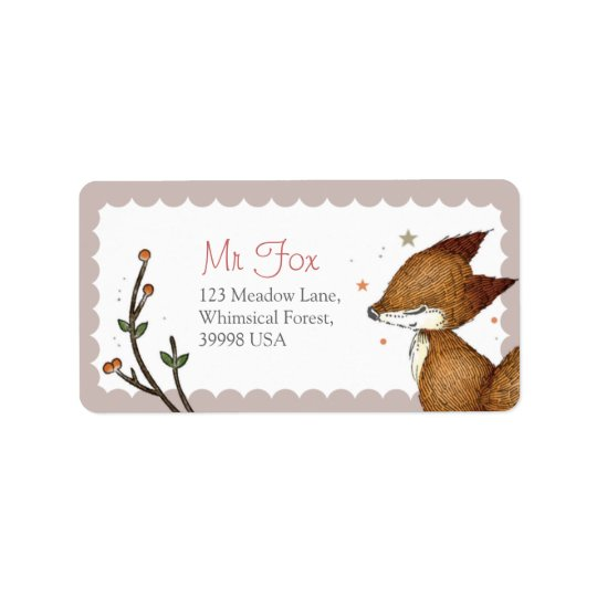 Woodland Critters - Fox Address Labels - Pink