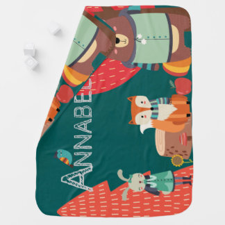 Woodland Cute Fox Bear Camp Nature Kids Baby Blanket