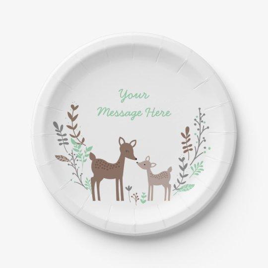 Woodland Deer Baby Shower 7 Inch Paper Plate