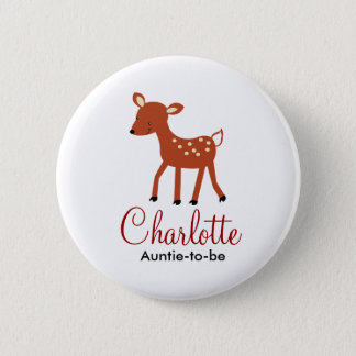 WOODLAND DEER BABY SHOWER NAME TAG BUTTON