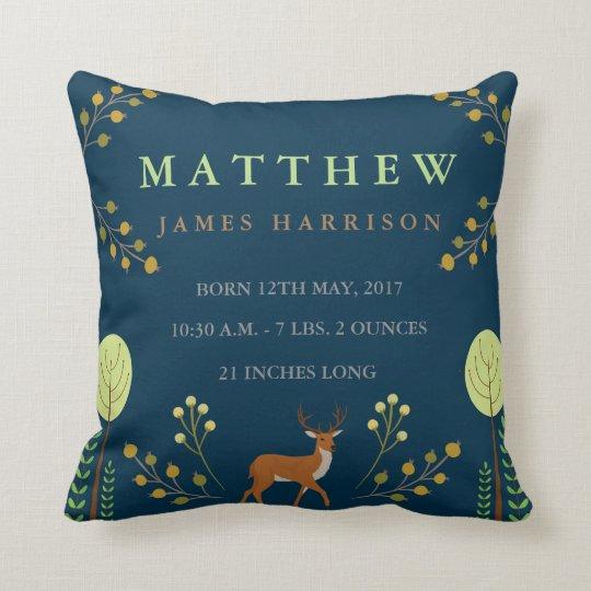 Woodland Deer Birth Announcement Pillow