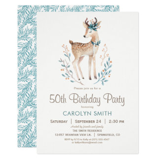 Woodland Deer Birthday Party Invitation