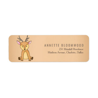 Woodland Deer Flowers Forest Baby Shower Return Address Label
