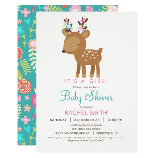 Woodland Deer Girl Baby Shower Invitation