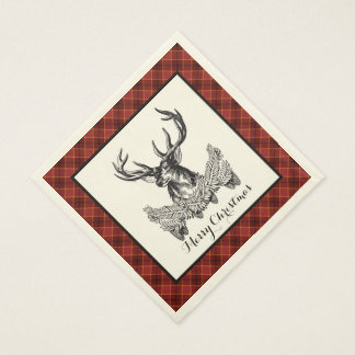 Woodland Deer Holiday Plaid Paper Napkins